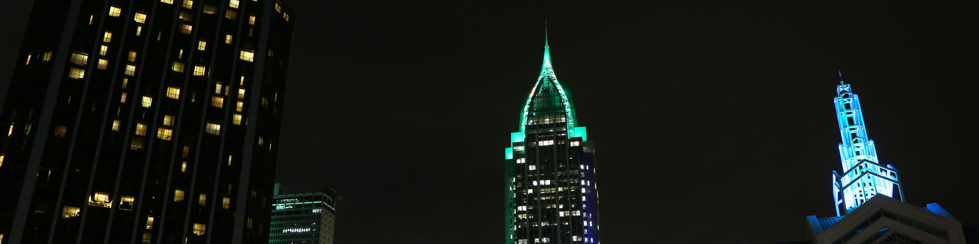 The RSA Tower in Mobile is lit in teal for cervical cancer awareness on Jan. 17, 2019.